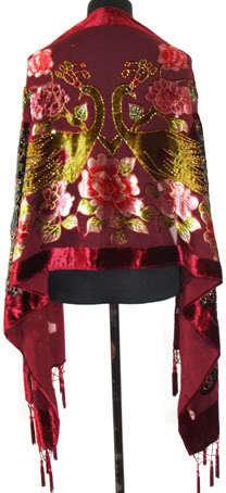 Tendências da moda Borgonha 100% Xale De Seda das Mulheres Cachecol De Veludo Bordado Frisado Capa Peacock Enrole Tamanho 176x68 cm WS006