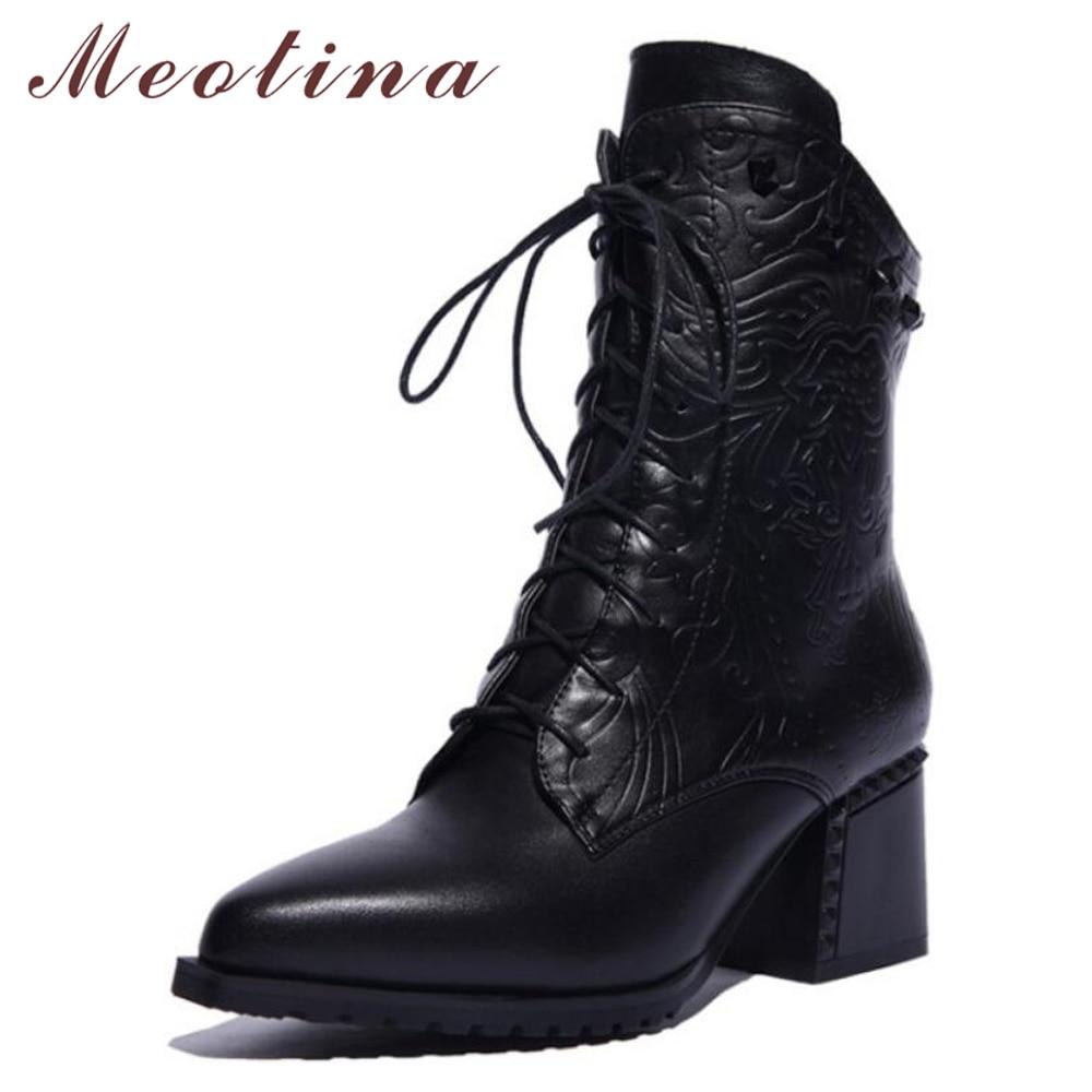 Meotina Stiefeletten Winter Natürliche Echtes Leder Stiefel Frauen High Heel Nieten Schnüren Motorradstiefel Reißverschluss Dame Schuhe Größe
