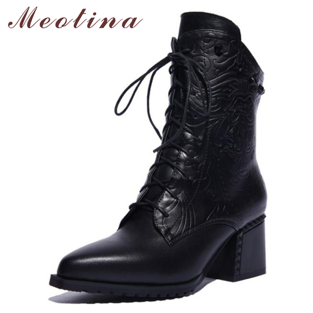 Meotina Ankle Boots Winter Natural Genuine Leather Boots Women High Heel Rivets Lace Up Motorcycle Boots Zip Lady Shoes Size 10