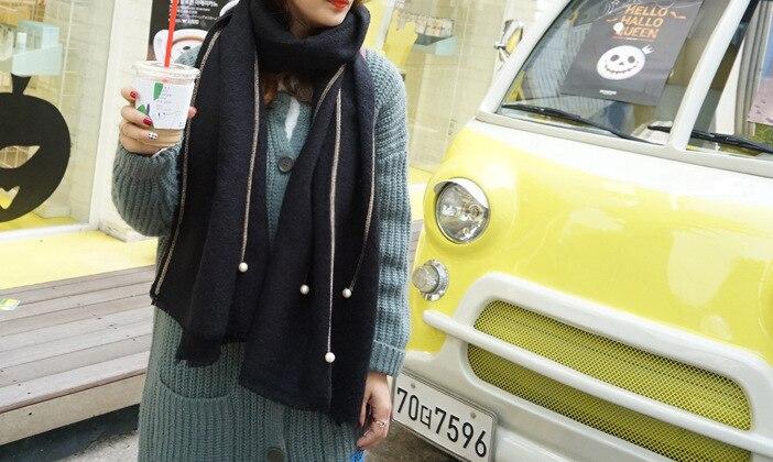 Autumn and winter new color cashmere scarf monochrome imitation cashmere pearl shawl shawl