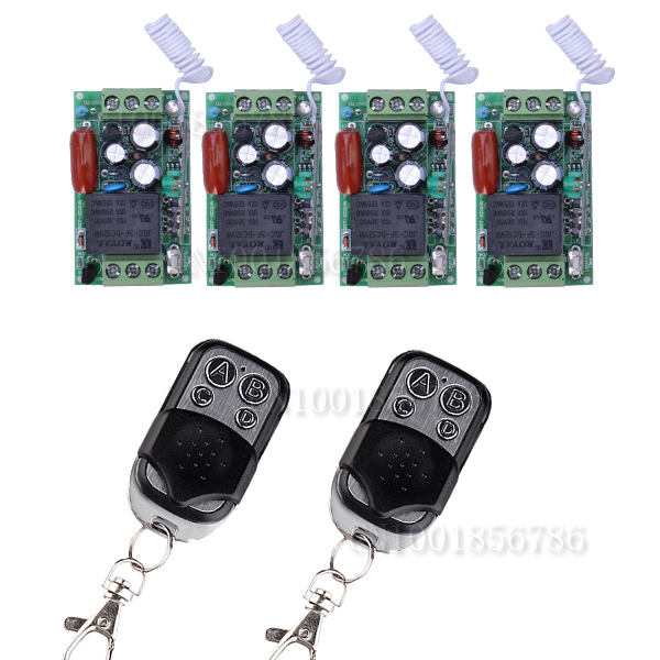 AC220V 1CH Remote Control Switches Lighting  LED Lamp ON OFF Remote Controller 4Receiver 2Transmitter 315/433 Learn Code 4 line switches dc 12v 16a car auto boat on off toggle switches led lighting control waterproof