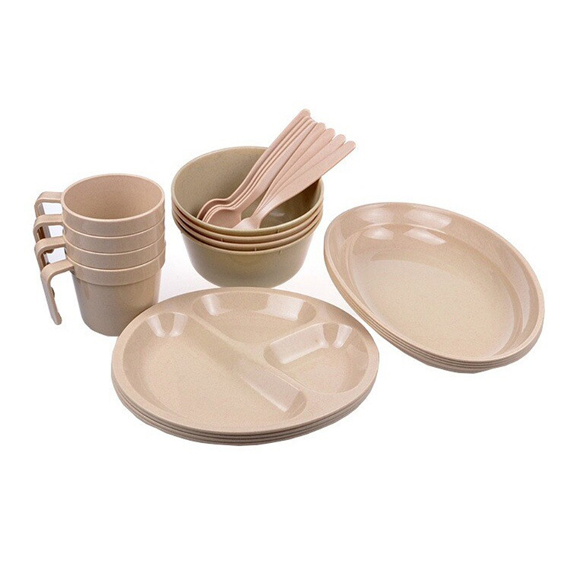 2017 Portable 24pcs Set Outdoor Tableware Dishes Bowls Plates Cups Forks Spoons For Family Camping Picnic Hiking In Tablewares From