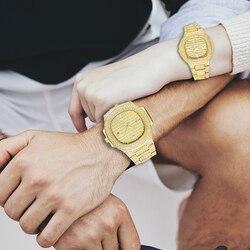 MISSFOX Top Luxus Marke Mode 18K Gold Volle Dimaond Dekoriert Frauen der männer Stahl Quarz Wasserdichte Iced Out paar Uhr Set