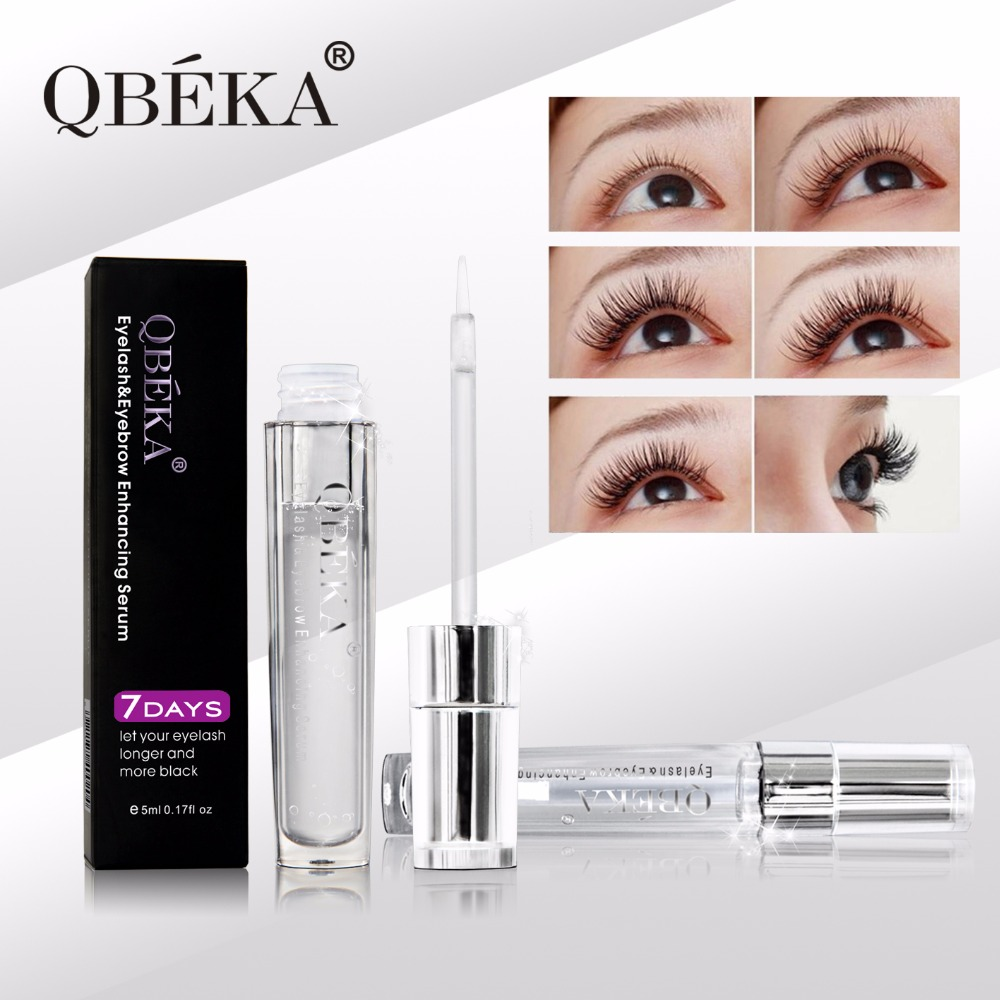 QBEKA Lashes Enhancing Liquid Eyelash Growth Serum Remedy Tips Longer Thicker Darker Eyelash Eyebrow Without Side Effect