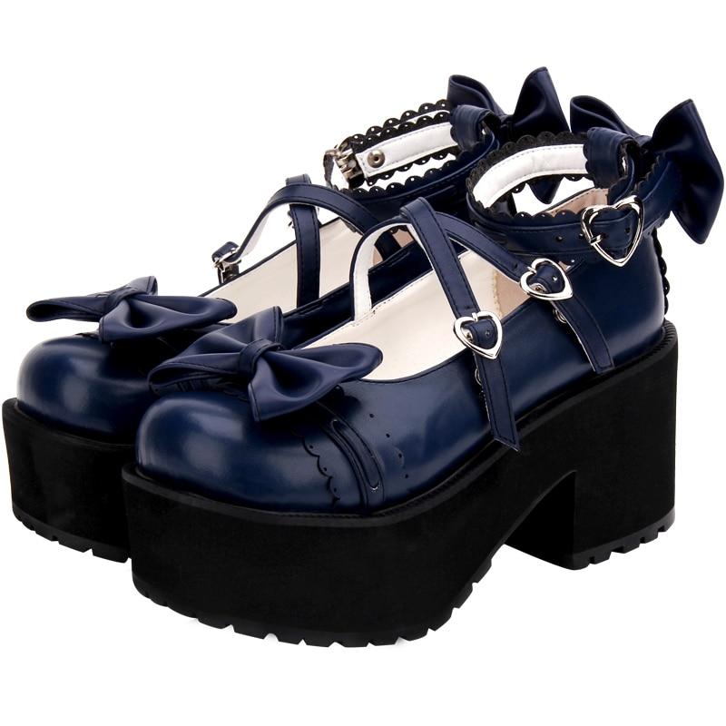 Ayakk.'ten Kadın Pompaları'de Moda Klasik Bahar Kadın Dantel Yüksek Topuk Lolita platform ayakkabılar Yay Yeni Kadın Büyük Boy Kolej Tatlı Lolita Çörek Ayakkabı'da  Grup 1
