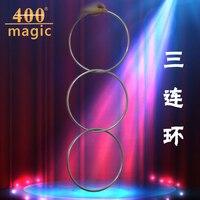 1 Conjunto Magnético Profissional Linking Ring 3 Anéis, Diamter 31 cm, Aço Inoxidável-Truques de Mágica, magia de Palco, Ilusão, 400 magia