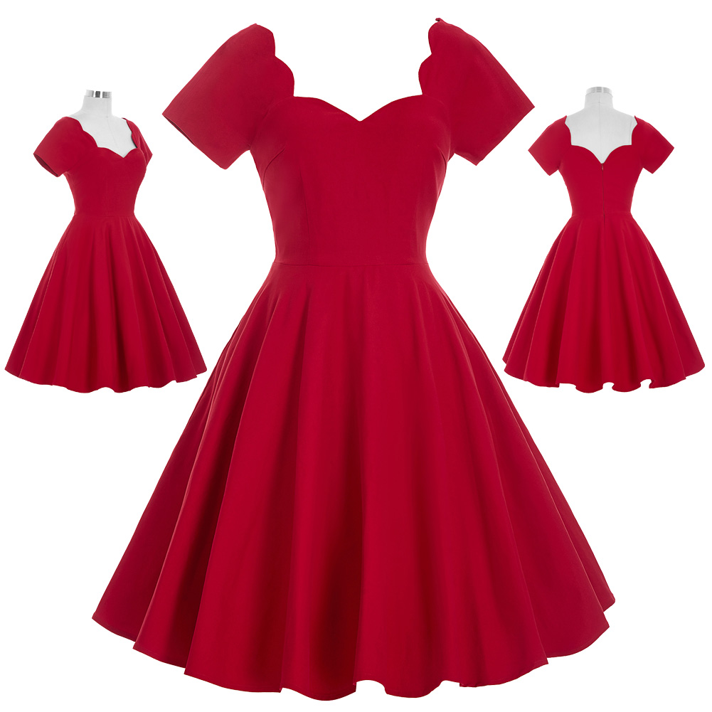women red dress Stock 50s Retro elegant dress Vintage Solid Color Short Sleeve Sweetheart Party Picnic medieval Dress ladies