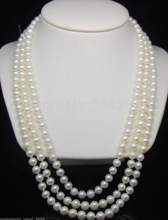 Fine 7-8mm AAA white pearl 925S necklaces 80Fine 7-8mm AAA white pearl 925S necklaces 80