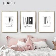 Live Laugh Love Posters and Prints Cuadros Decoracion Salon Black and White Decorative Picture Wall Art Nordic Decoration Home