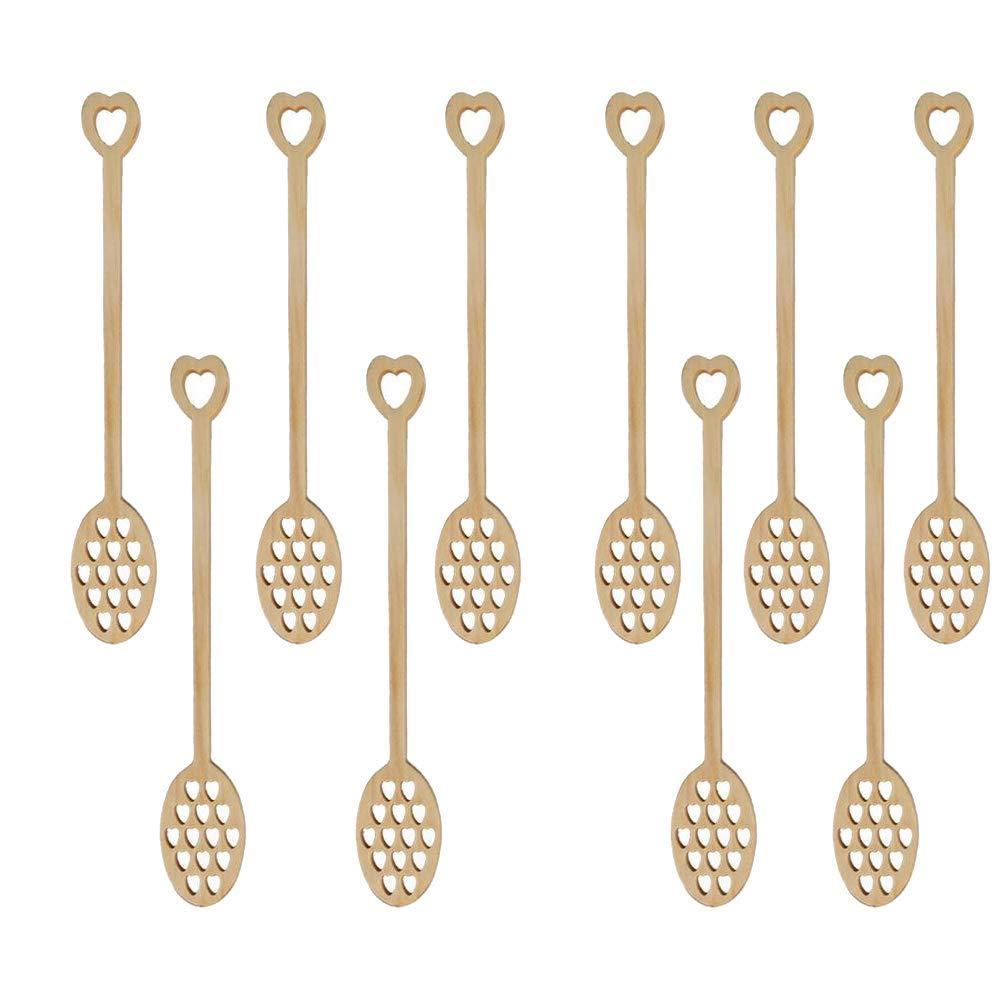 10 paquets en bois creux amour coeur miel bâton miel Dipper cuillère, café Stiring cuillère, vaisselle pour mariage ou fête faveurs (-in Café Scoops from Maison & Animalerie    1