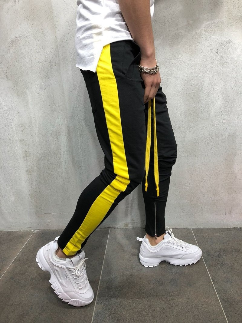 2019 New Men Pants Side Striped Patchwork Sweatpants Skinny Drawstring Hip Hop Trousers Male Fitness Joggers Casual Track Pants