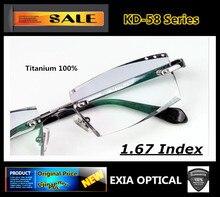 Titanium Glasses Men Rimless Frame Brand Design Men Fashion Eyewear MR-7 1.67 High Index Optical Lenses EXIA OPTICAL KD-58