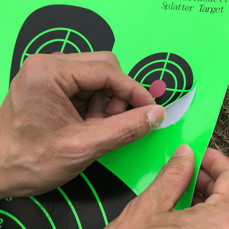 "Image 2 - 25 PCS Target Shooting 12""x18"" Silhouette Splatter Reactiveb Target Paper Targets Fluorescent Green For Gun or Archery Shooting-in Paintball Accessories from Sports & Entertainment"