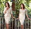 2015 Honorbale na altura do joelho Champagne mãe da noiva Vestidos com Jacket Vestidos Elegantes Traje De Gala