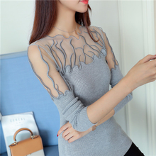 2018 Hitz head lace flounces Korean sweater slim slim female long sleeved shirt color sweater
