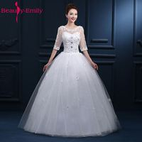 Beauty Emily White Long Cheap Wedding Dresses 2017 Ball Gown Wedding Party Bridal Dresses Lace Up