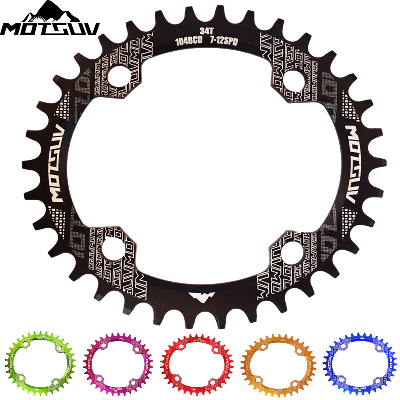 цена на MOTSUV Bicycle Crank 104BCD 32T/34T/36T/38T Oval Chainring Narrow Wide MTB bike Chainwheel Circle Crankset Plate Bicycle Parts