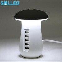 SOLLED 110V Mushroom LED Night Light Desk Lamp 11A 40W 5 Port USB Charger Charging Power