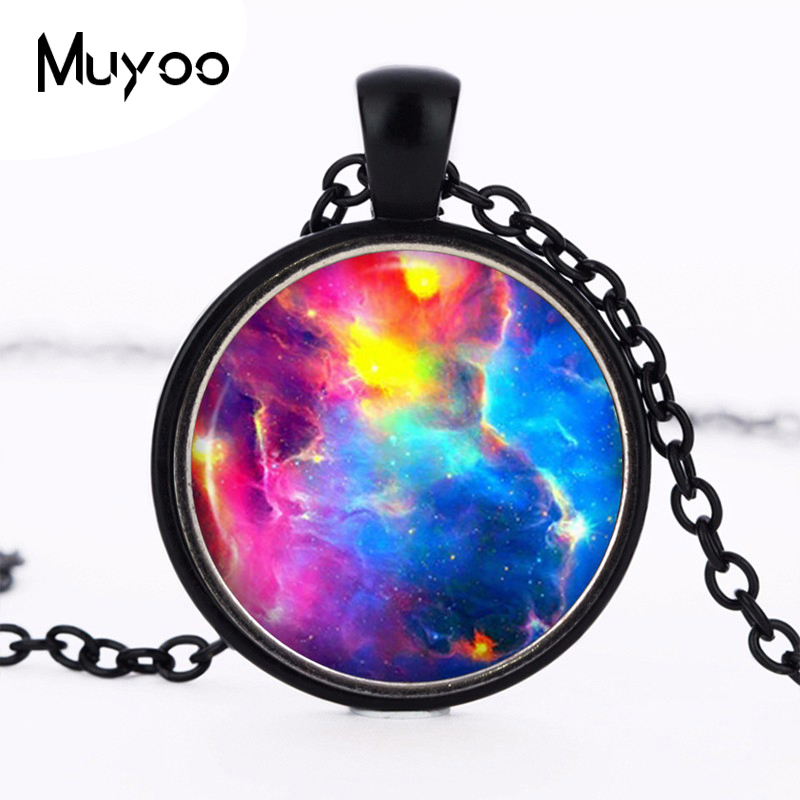 Rainbow Colourful Nebula Necklace Galaxy Chain Pendant Space Vintage Choker Statement Necklace Gift Girl Dress Accessories HZ1