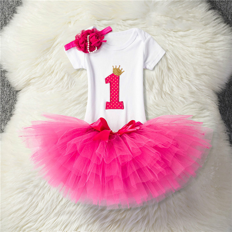 Toddler Girl First 1 Year Baby Girl Birthday Party Dress Newborn Baby Photo Shoot Tutu Cake Outfits Infant Baptism Clothes 12M