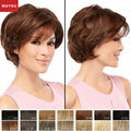 Short Human Hair Wigs For Women Elegant MAYSU Side Parting Classic Brazilian Virgin Hair Blonde wig Capless European Style