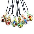 Setas collar hechos a mano luminous lampwork murano colgantes collares de moda barata del vidrio colgantes collar de la joyería