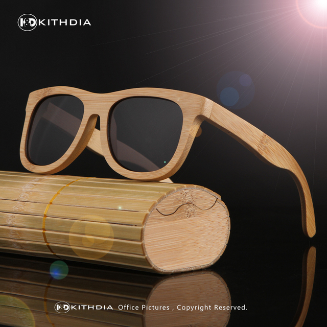 KITHDIA fashionable restore ancient ways natural environmental protection man bamboo wood polarized sunglasses with wooden case