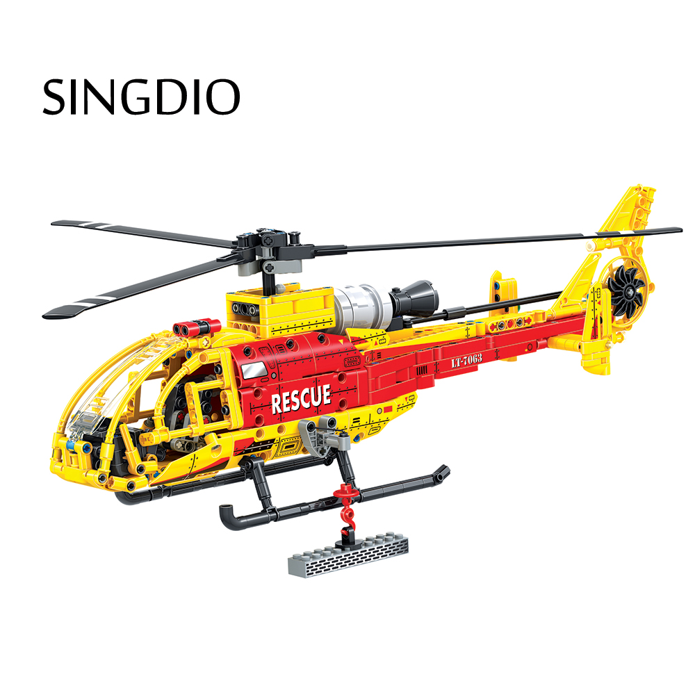 SINGDIO DIY Helicopter Blocks 663pcs Bricks Building Block Set Educational Toys For Children Plastic model blocks boy games gift decool 3114 city creator 3in1 vehicle transporter building block 264pcs diy educational toys for children compatible legoe