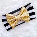 Gold Glam Bow White Headwrap Baby Headband Bow Headband Head Wrap Newborn Infants Photo Prop Hair Accessories