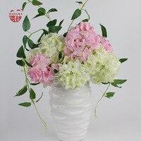 Diy planta única selección arreglo floral decoración del hogar flores decorativas artificiales de seda hydrangea conjuntos