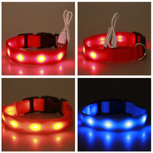 Safety LED Dog Collar - USB Rechargeable With Water Resistant Flashing Light Night Safety For Dog Walking все цены