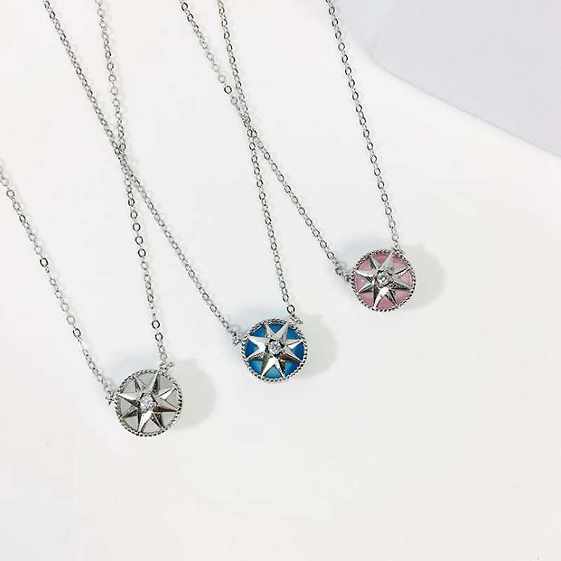 Ruifan Compass Shape Opal Pendant Necklace White/Rose Gold 925 Sterling Silver Necklace Fashion Woman Pendants Chains YNC087 pendant