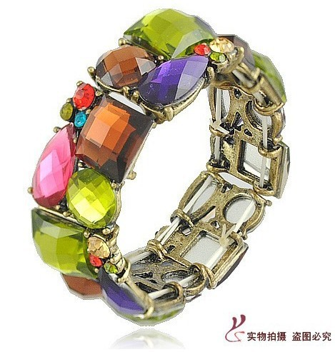 Free Shippin 1 lot/5 pieces shiny European vintage style exotic hollow jewelry elastic bangle bracelet with water drop crystal