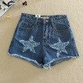 2016 Mulheres Moda Casual Estrelas Shorts Jeans Femininos de Verão Borla Shorts Jeans