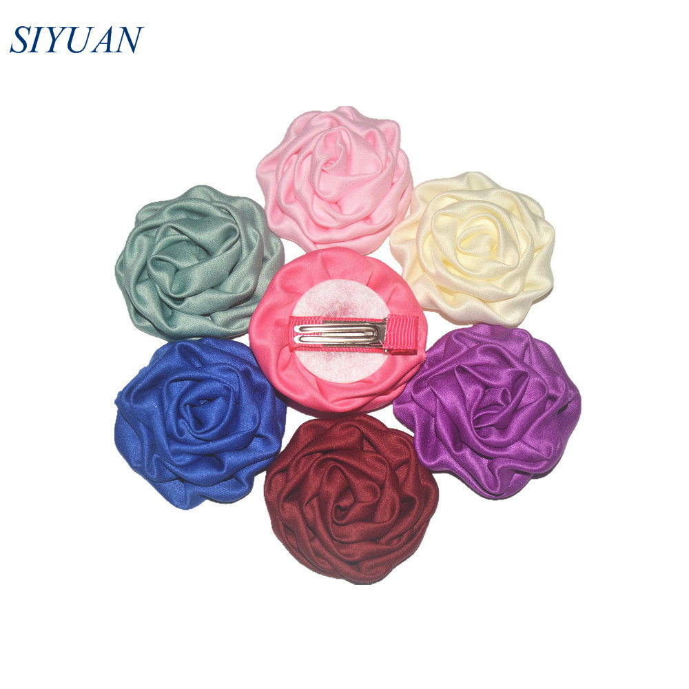 150pcs/lot 1.8'' Soft Satin Ruched Rolled Rosettes Flower WITH/WITHOUT Hair Clips DIY Craft Supplies TH247