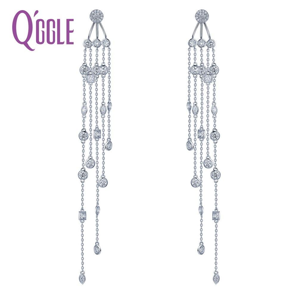 QGGLE haute qualité cuivre argent couleur Dangle boucles d'oreilles femme Zircon lien pendentif boucles d'oreilles pour femmes bijoux