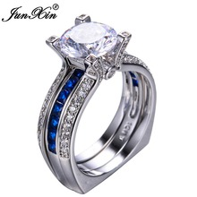 JUNXIN Gorgeous Blue Sapphire Crystal Ring Set Vintage Wedding Rings For Women Fashion White Gold Filled Jewelry Bridal Sets