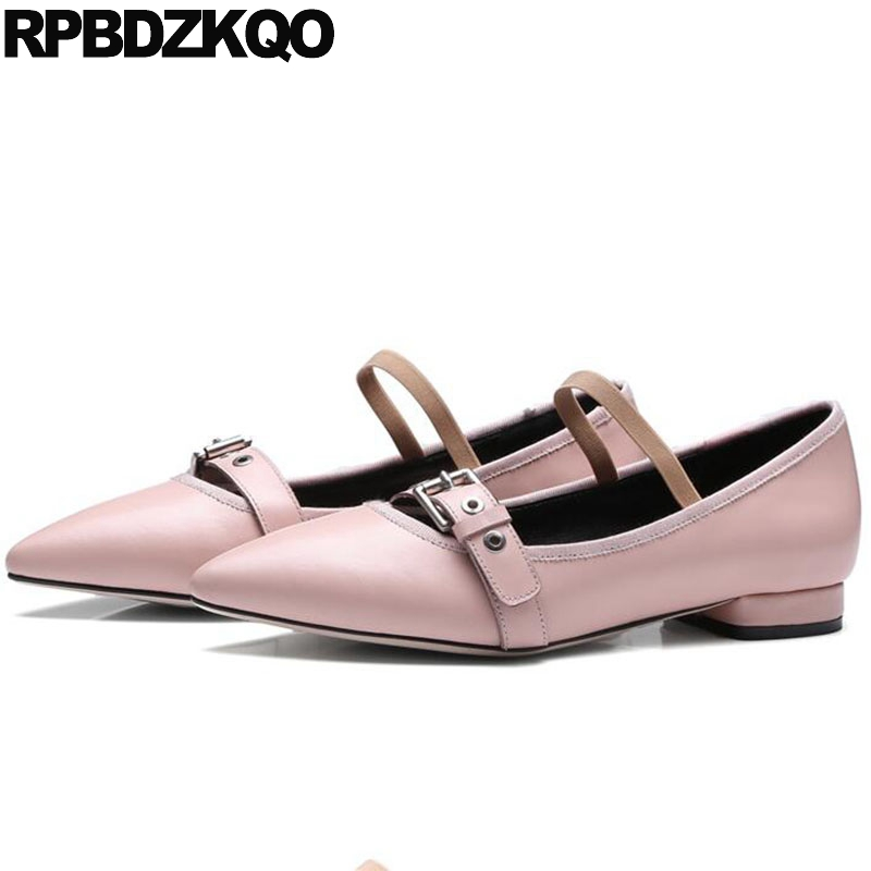 Pink Drop Shipping 2018 Cowhide Shoes Mary Jane Women Genuine Leather Flats Korean Spring Autumn Pointed Toe Ladies Belts Strap цена