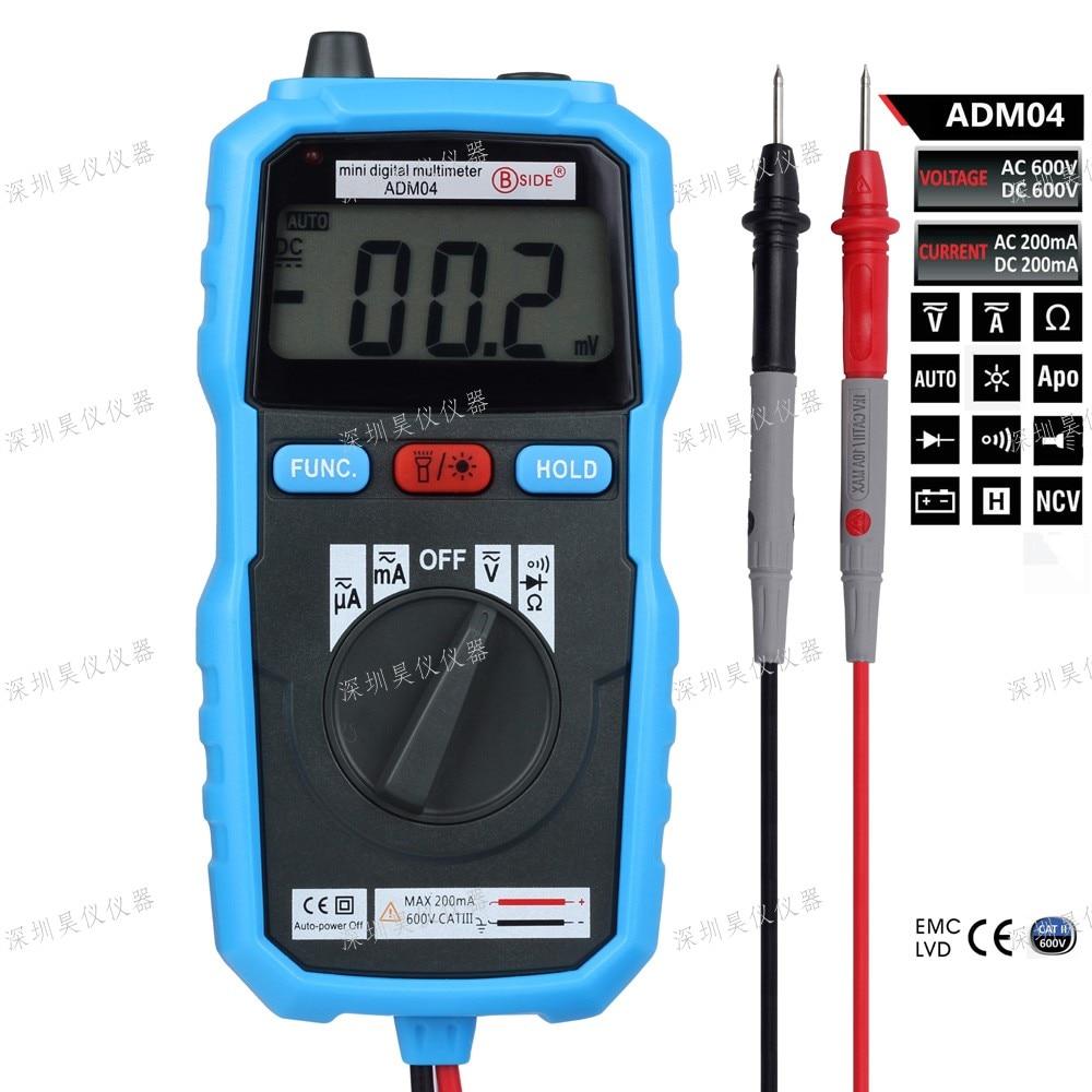 BSIDE ADM04 LCD Digital Multimeter Mini Pocket 2000 Counts DMM DC/AC Voltage Current Meter Diode Tester Auto Ranging Multimetro  цены