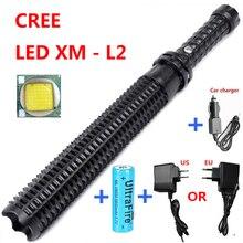 Potente linterna LED 18650 CREE XM L2 bastón telescópico policía defensa propia patrulla 1101 LED recargable luz de flash