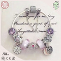 Best Quality Luxuxious Shinning Pink And Purple Silver Charm Series CZ Paving Barrel Clasp 925 Real Silver Heart Charm Bracelet