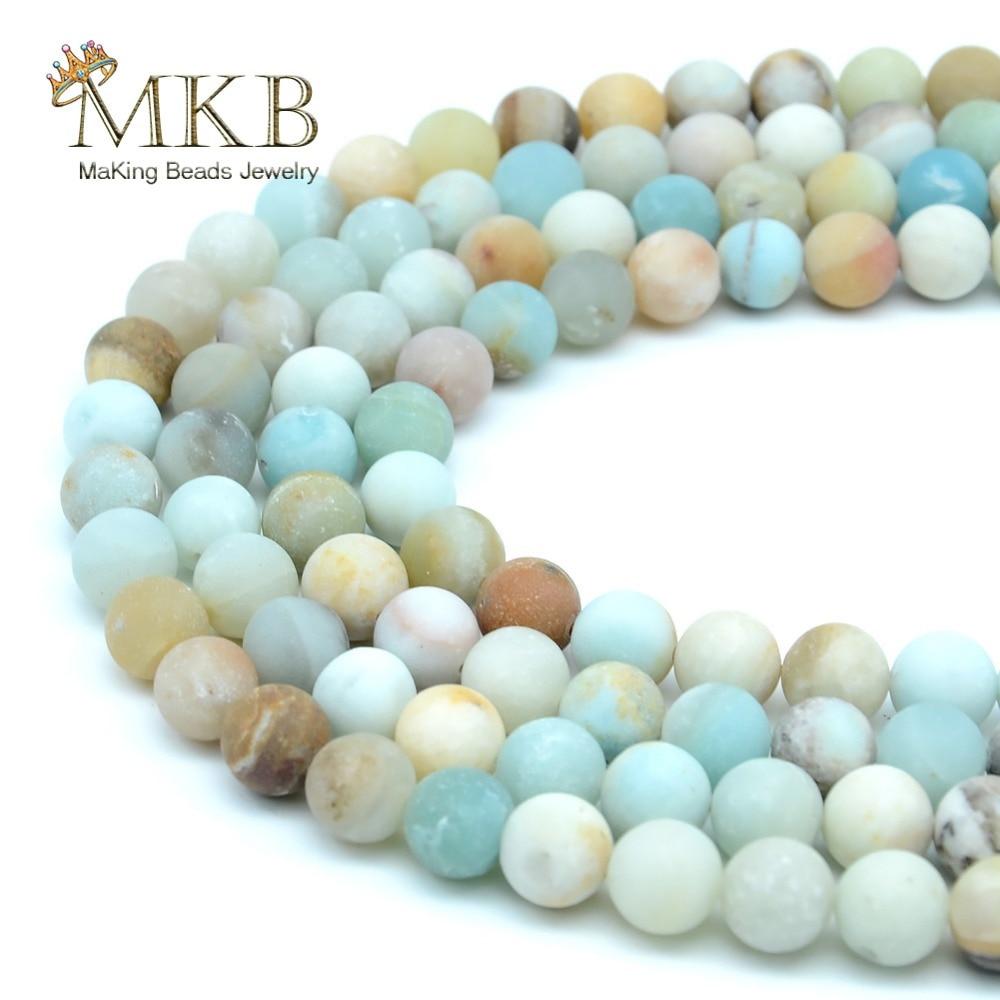 Pierre naturelle mat Amazonite Perles rondes pour la fabrication de bijoux 4 6 8 10 12mm Perles gemme Perles en vrac bracelet à bricoler soi-même collier livraison directe