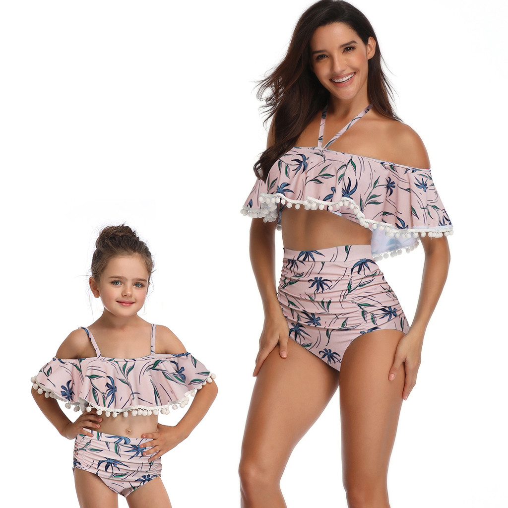 Tops & Tees Contemplative Mother And Daughter Print Sexy Two Piece Swimsuit Matching Sling Split Swimsuit Clothing *zh^2#g35us Bright Luster