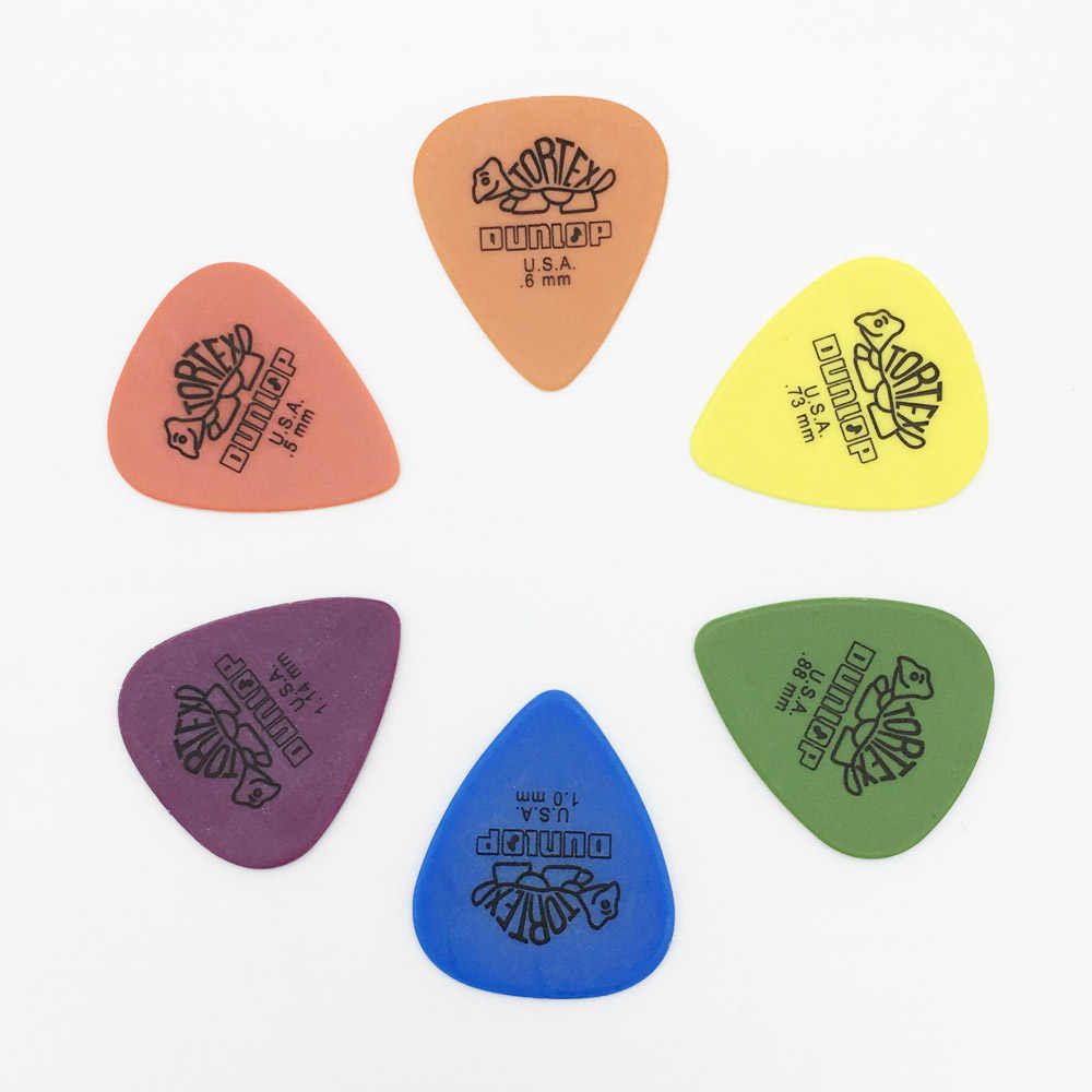 6 pieces Dunlop Tortex Guitar Picks Bass Mediator Acoustic Electric Accessories Classic Thickness .5 .6 .73 .88 1.0 1.14 mm