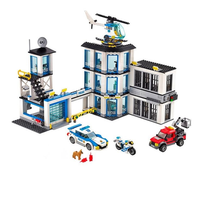 Lepin 02020 City Series The New Police Station Set children Educational Building Blocks Bricks Boy Toy Model Gift lepin 02006 815pcs city series police sea prison island model building blocks bricks toys for children gift 60130
