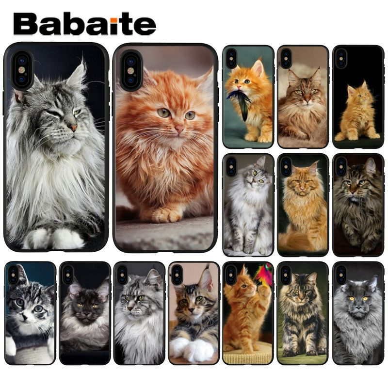 Babaite pet maine coon <font><b>cat</b></font> Black Soft Silicone Phone <font><b>Case</b></font> Cover for Apple <font><b>iPhone</b></font> 8 7 6 6S Plus X XS MAX <font><b>5</b></font> 5S SE XR Mobile <font><b>Cases</b></font> image