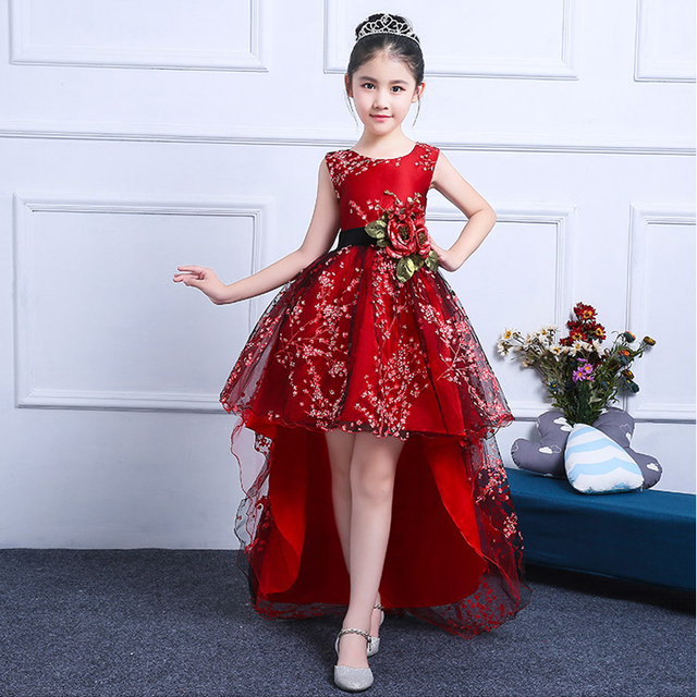 25e4ac6cdbb00 US $67.07 |Embroidery Flower Girl Dress Wedding Party Dresses Trailings Red  Ball Gown Princess Dress Sleeveless Baby Girl Pageant Gowns A45-in Dresses  ...