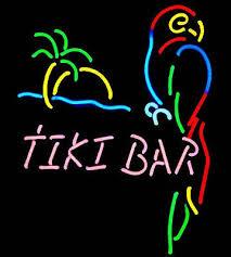 TIKI BAR perroquet palmier verre néon enseigne barre de bière