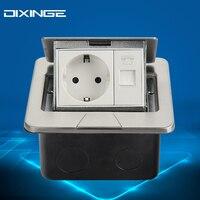 Luxe Silvery Socket Indoor Socket 1 German Socket And 1 Telefoon Interface Plug Adapter 16 A