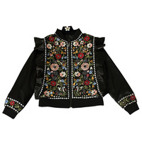 2018 Women Spring Vintage Floral Embroidered Ruffles Beading Basic Jacket Female Retro Ethnic Black Outerwear 30702